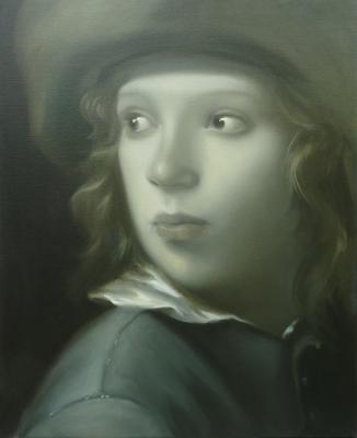 Deel van Dubbelportret naar 'Jongen met hoed' van Michael Sweerts