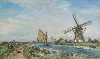 Jongkind, Johan Barthold - Canal près de Rotterdam, printemps