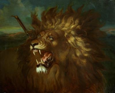 Salèh, Raden - Wounded lion
