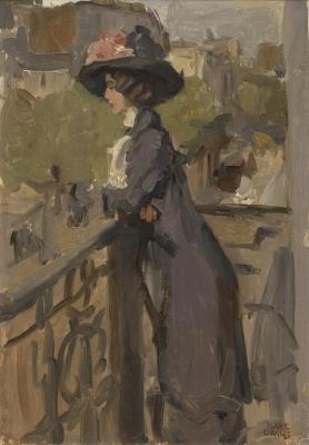 Israels, Isaac - Jonge vrouw op balkon in Parijs