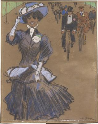 De vrolijke fietsster