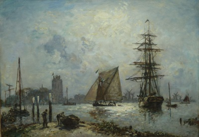 Jongkind, Johan Barthold - Gezicht op Dordrecht