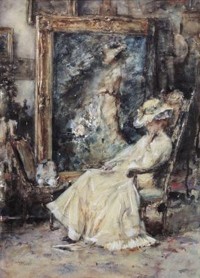 Roelofs, Albert - Elegante vrouw in het atelier