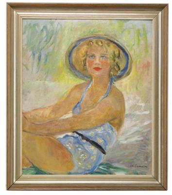 Camoin, Charles - Blonde assise en maillot de bain