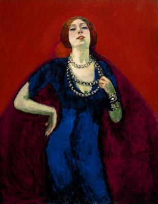Dongen, Kees van - Portret van Guus tegen een rode achtergrond