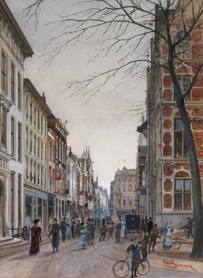 Andreas Carl Sommer - Gezicht op de Lange Poten te Den Haag