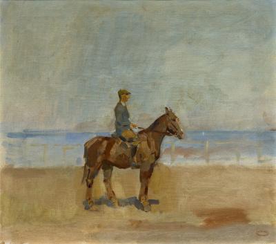 Isaac Israels - Ruiter op het strand van Scheveningen