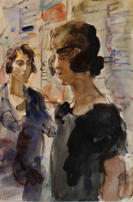 Isaac Israels - Stoffenverkoopsters bij Maison Wijnman te Den Haag, ca. 1927
