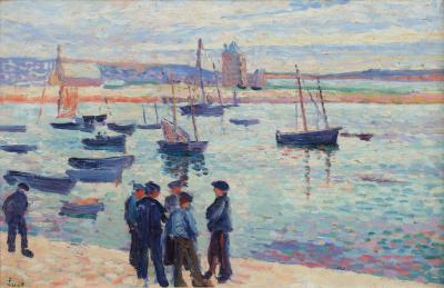 Maximillian Luce - Camaret, marins et barcques dans le port