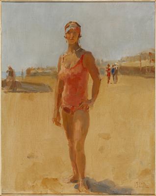 Isaac Israels - Staande dame op het strand van Viareggio