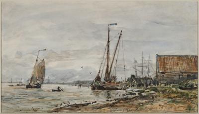 Boten op de Schelde bij Antwerpen - J.B. Jongkind