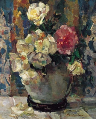 Witte en rose rozen in een Lanooypot